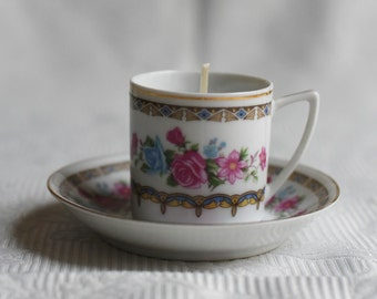 Pink and Blue Floral Teacup Candle