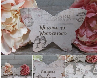 8 Alice in Wonderland Quote Butterfly Table Cards Decoration,Wedding,Party,Prop,Craft,Cardmaking,Gift Tags