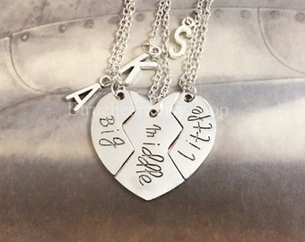 Sister Necklace, Gift For Big Sis Middle Sis Little Sis, Matching Little Sister Middle Sister and Big Sister Necklace Set Of 3