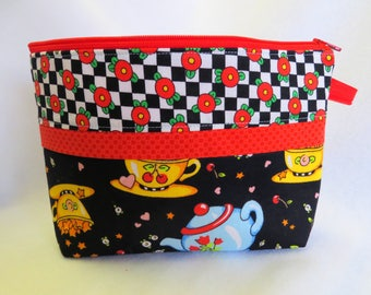 Wide Open Zipper Bag, Notions Bag, Cosmetic Bag, Sewing Bag, Toiletries Bag, Jewelry Bag, Mary Engelbreit Fabric