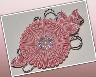 Handmade Girl's/Ladies Satin Flower Hair Clip, Kanzashi, Dusky Pink, Wedding, Christening, Hair Accessories, FREE UK DELIVERY