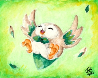 "Rowlet Watercolor - PRINT - 5""x7"" - 8""x10"""