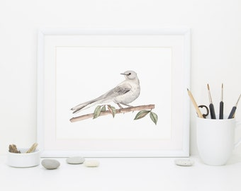 MOCKINGBIRD WATERCOLOR PRINT – Mississippi, Arkansas, Florida, South Carolina, Tennessee, Texas State Bird Bedroom, Nursery, Studio – 8X10
