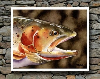 Cutthroat Trout Art Print - Watercolor Painting - Fly Fishing Art - Signed by Artist DJ Rogers - Wall Decor