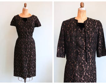 Vintage 1960's Black and Pewter Brocade Dress and Jacket | Size