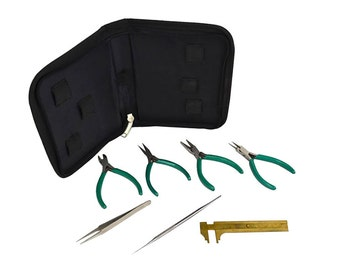 7 Piece Beading Tool Kit Essential Value Set Pliers Tweezers for Beginners Jewelry Making Crafting Bead Tools - BEAD-0003