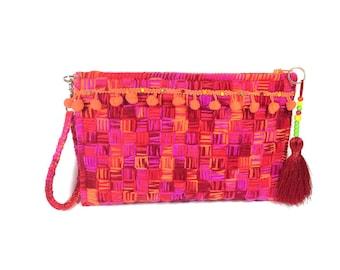 Red clutch , bohemian clutch , gypsy handbag