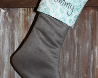 Gray Suede Teal Aqua Blue White Christmas Stocking, Grey Christmas Stockings, Personalized Sparkling Glitter Stockings,