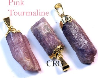 Gold Plated PINK Tourmaline Pendant (PT20CN)