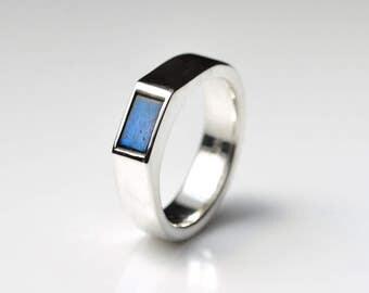 Labradorite Ring - Gemstone Labradorite Ring - Silver Labradorite Ring - Labradorite Wedding Ring - Gemstone Ring - Signet Ring