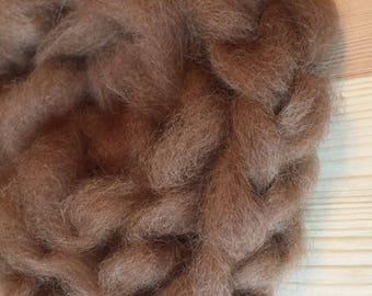 Fawn Natural Alpaca Roving Braid Soft Brown