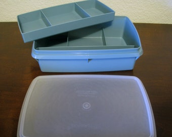 Blue Tuppercraft Craft Organizer - Vintage Tupperware #767 Storage Container with Removable Inner Tray