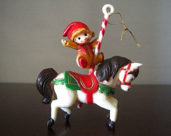 Boy on Carousel Horse Merry Go Round Vintage Christmas Ornament – Hard Plastic