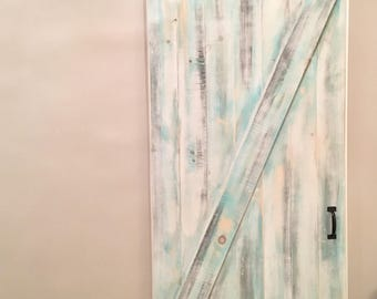 Beautiful Sliding Barn Door, custom made distressed barn door