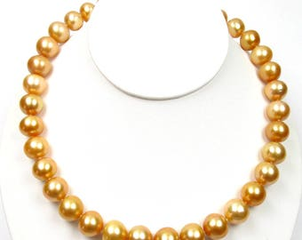 """17.75"""" 11.5-14mm Australian Golden South Sea Pearl Strand Nacklace W/ 14K Gold Clasp"""