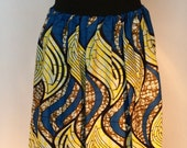 African Print Maxi Skirt with Matching Headwrap