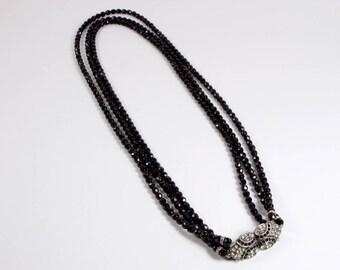 Vintage 1930s Art Deco 3 strand black glass and diamante necklace