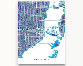 Miami Map Print, Map of Miami, USA City Map, Miami Florida