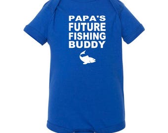 Papa's Future Fishing Buddy Infant Bodysuit - Baby Fisherman Onesie - Baby Fishing Creeper