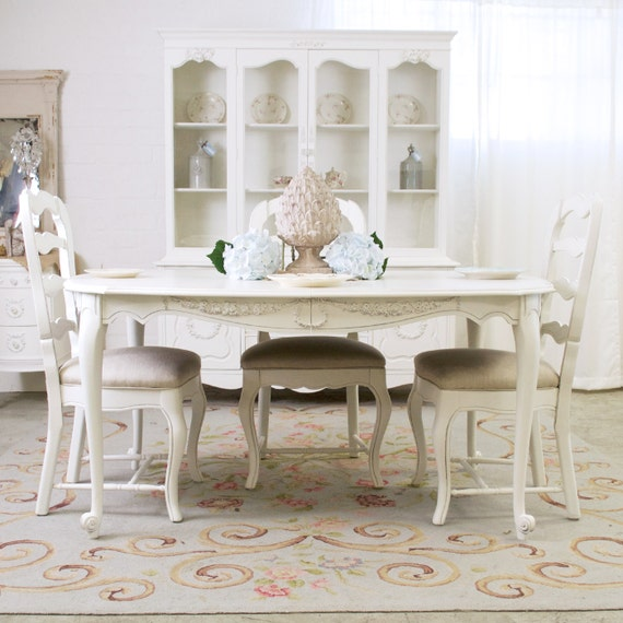Shabby Cottage Chic French Vintage Style White Dining Table Roses #9935