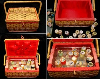 Vintage sewing box-old sewing basket-vintage wood spools-old sewing lot-wooden thread spools-vintage wicker basket-antique sewing