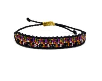 """Gypsy style """"mosaic"""" bangle beaded bracelet black"""
