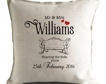 PERSONALISED Wedding anniversary Cushion Pillow Cover - Sharing The Sofa Since - Mr and Mrs bride and groom - 16 inch 40cm