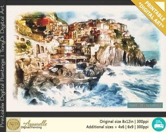 Manarola Cliff Houses, Italy • Beautiful Travel Digital Painting • Travel Printable Wall Art, Home Decor, Seascape Nature art, Watercolor