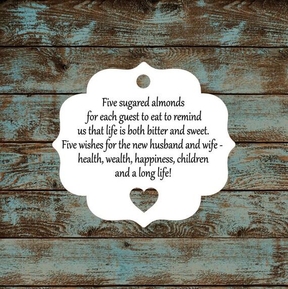 Favor Tags, Jordan Almond Favor Tags, Sugared Almond Favor Tags, Italian Wedding Favor Tags #647 - Qty: 30 Tags