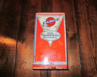 Vintage Hamco wood creosote oil can