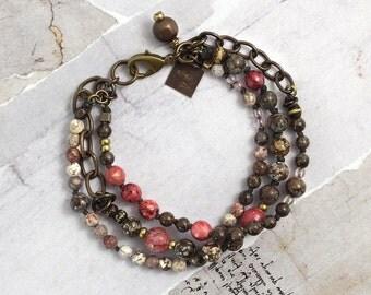 Chocolate jasper bracelet Pink lepidolite bracelet Chunky stone bracelet Lepidolite jewelry Brown bracelet Jewelry for cowgirls Boho jewelry