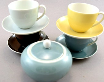 Set of old mocca cups with  sugar bowl, candy colors, German porcelain, pastel, Schönwald, 50s