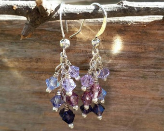 Cascade crystal earrings, handmade jewelry, earrings, Swarovski crystals, shades of purple, ombre effect, customizable