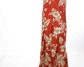 FREE US SHIPPING Vintage Hawaiian Fishtail Maxi Cotton Dress