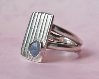 Silver Ring - Handmade Designer Ring with Opal - Modern Style - Unique and Eye-catching
