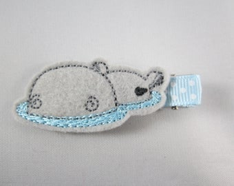Hippo in water felt embroidered hair clip