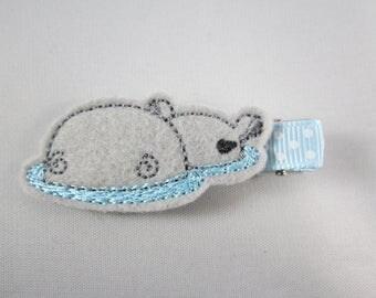 NEW hippo felt embroidered hair clip