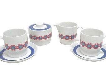 Mellita Deco Cubist Cups, Saucers, Creamer and Sugar Bowl Set