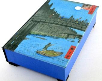 Decorative box,Hiroshige box, Japanese Art, tea bag box, pen and pencil box, keepsake box, ukiyo-e, MADE TO ORDER