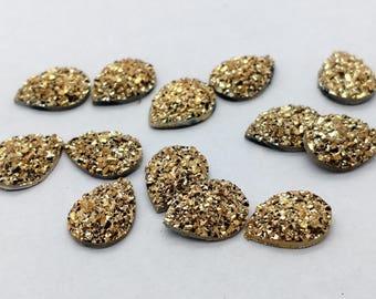 Gold 10x14mm flat faux druzy teardrop Cabochons 10pcs