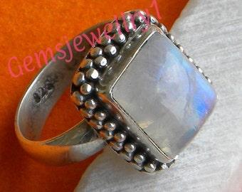 Rainbow Moonstone Ring, Rainbow ring, 92.5 sterling silver, silver ring, MoonStone ring, Size US 5 6 7 8 9 10 11 12 13 14 RSILVER-0407150016