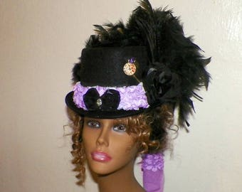 Black Top Hat Purple Steampunk Victorian  Gothic Cosplay Womans Costume  Tea Party Kentucky Derby