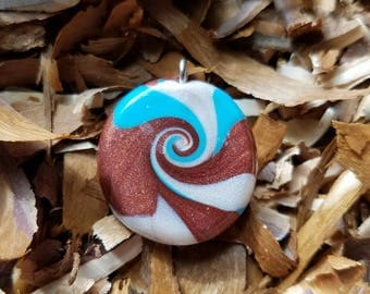Polymer clay waves necklace