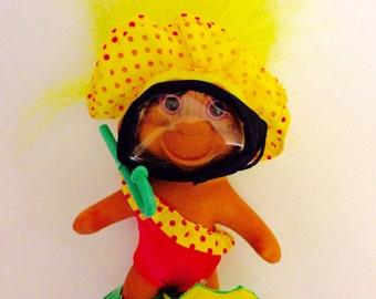 Summer Swim Troll Vintage 1991 T.N.T. Troll Doll Scuba Diver Snorkel Vacation trolls Hot Pink Yellow Swim Suit Swimmer Yellow Hair Trolls