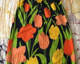 Maxi Skirt 1960s mod floor length Hawaiian print