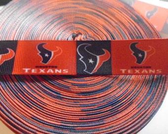 5 yards of  Houston Texans 7/8 wide grosgrain ribbon