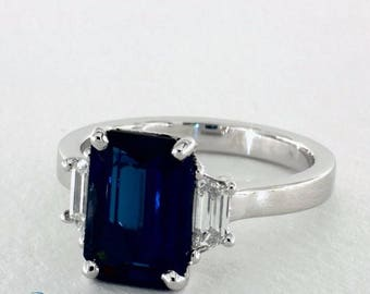 Emerald Cut Sapphire and Trapezoid Diamond Ring in Platinum 4.25ctw. Blue Sapphire, Three Stone Ring, Engagement Ring, Right hand ring