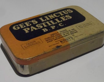 Gee's Linctus Pastilles Empty Vintage Medicine Tin by BOOTS