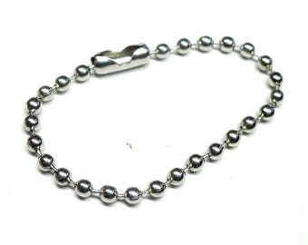 Set of 10 clasp chains for key chain, ball chain, with clip connector, silver color, 10 cm * 2 mm