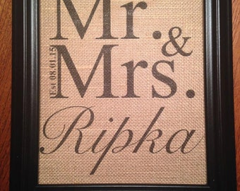 Personalized Burlap Wedding Print, Personalized Burlap Anniversary Print, Great burlap wall decor for housewarming or wedding gift